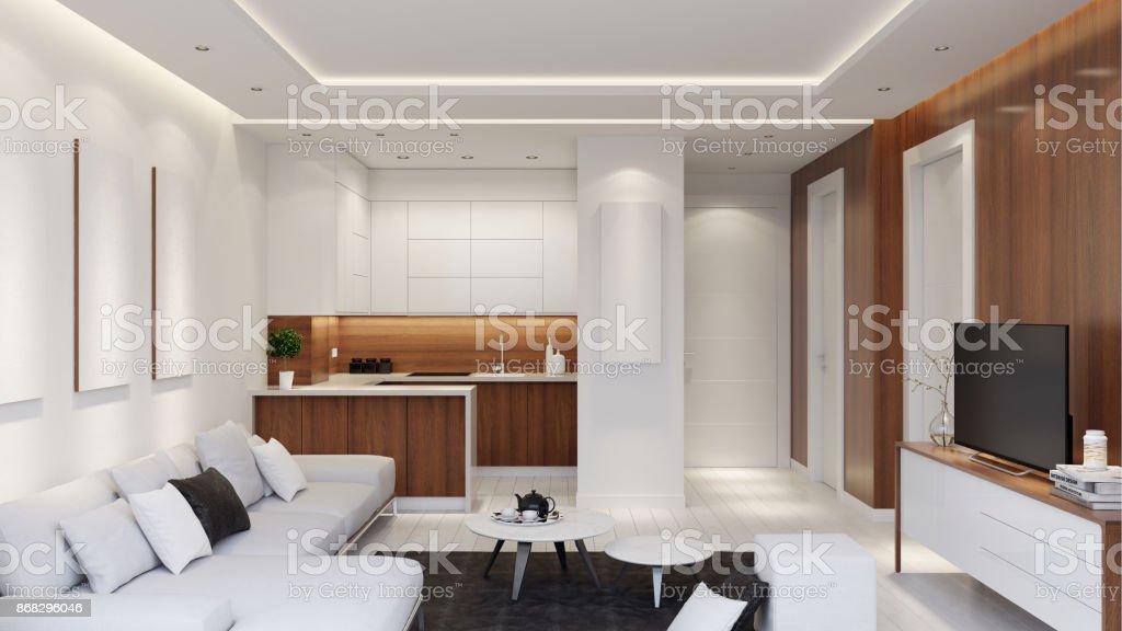 Kleine Moderne Wohnung Interieur Wohnzimmer Mit Kleiner Küche Und ...