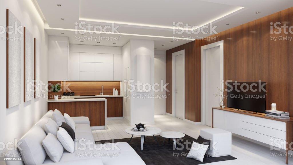 Kleine moderne Wohnung Interieur Wohnzimmer mit kleiner Küche und mit Holz Wandpaneele. – Foto