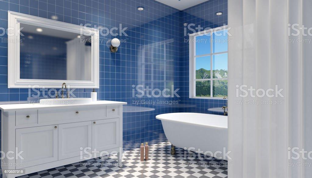 Small, modern bathroom interior. 3D rendering stock photo
