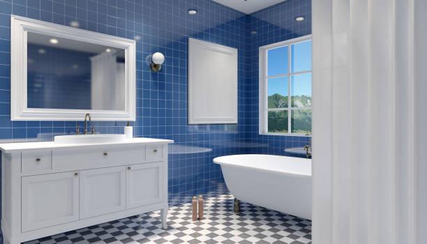 Interior pequeno, moderna casa de banho. Renderização 3D - foto de acervo
