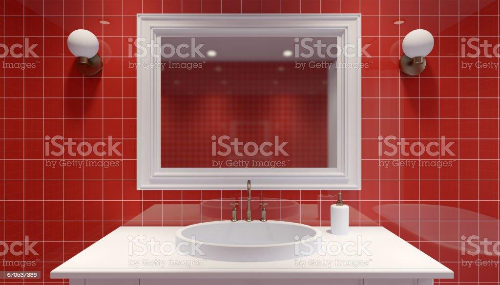 Interior Del Cuarto De Baño Pequeño Y Moderno Render 3d Foto ...