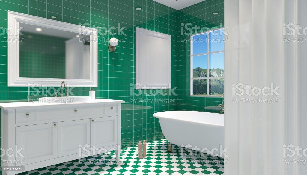Interior Del Cuarto De Baño Pequeño Y Moderno Render 3d Foto de ...