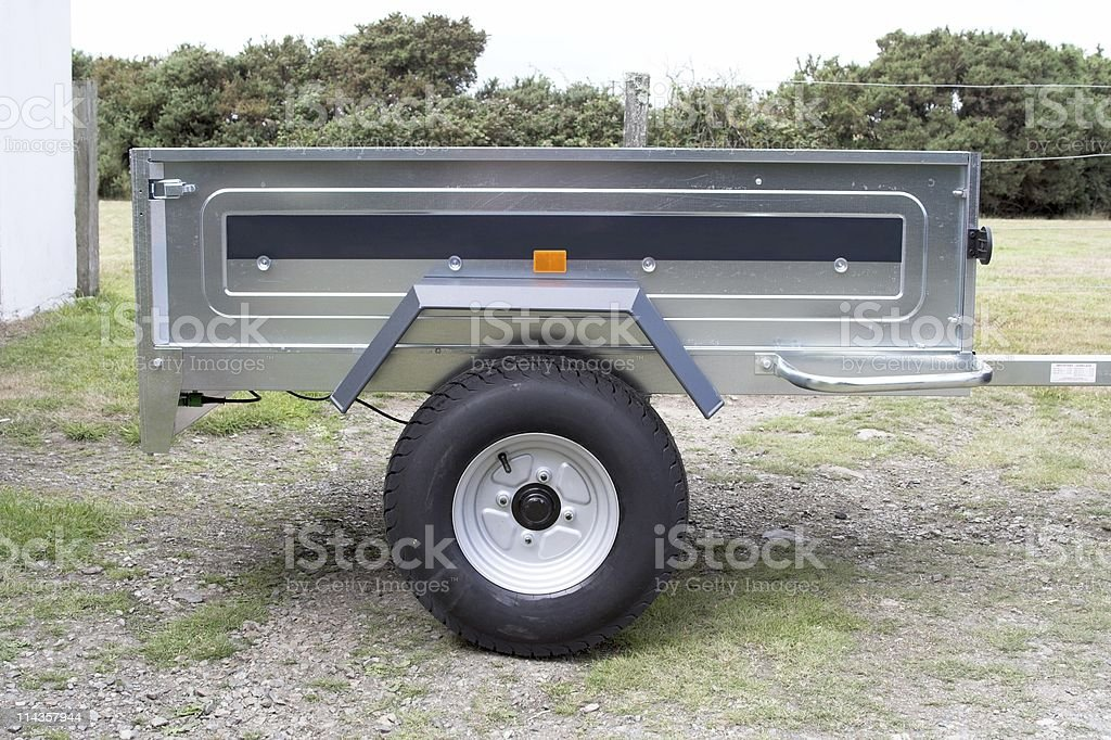 Small Modern Goods Trailer For Towing With Car royalty-free stock photo