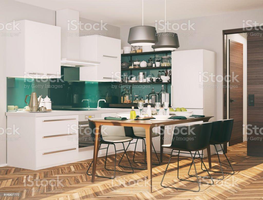 Foto De Pequena Cozinha Moderna E Mais Banco De Imagens De Arm Rio