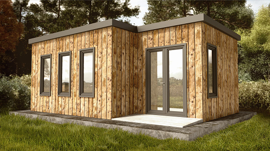 Small Modern Wooden House Exterior with landscape Background