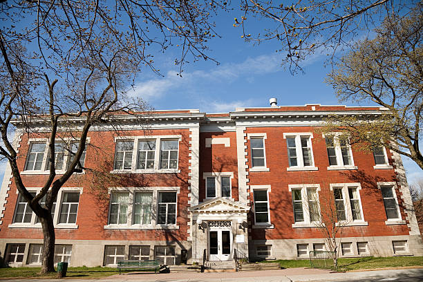 Small Montreal school in the spring stock photo