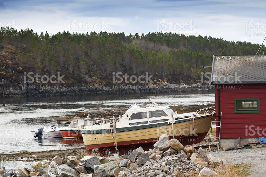 Small motor boats stand on the coast in Norway royalty-free stock photo