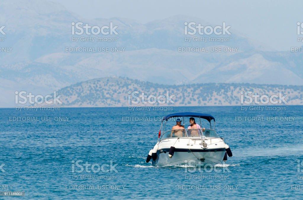 Small motor yacht siling on mediterenian sea stock photo