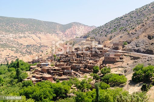Small mountain Berber village with traditional houses in the Al Haouz Province, Marrakesh-Tensift-El Haouz region, Morocco