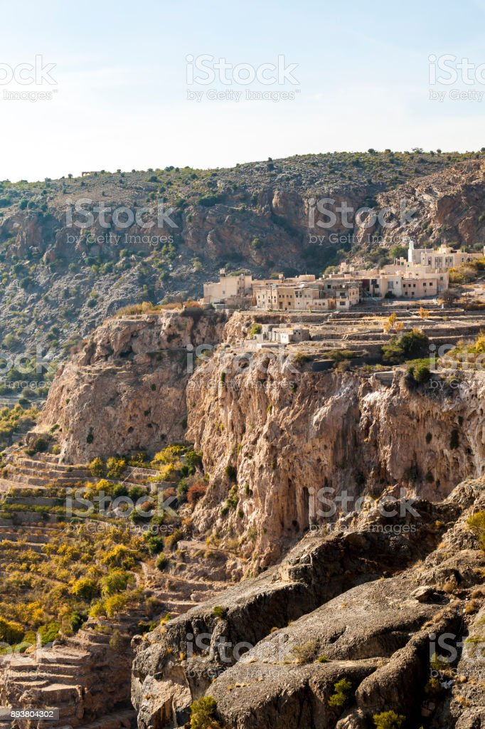 small mountain village near nizwa, oman stock photo