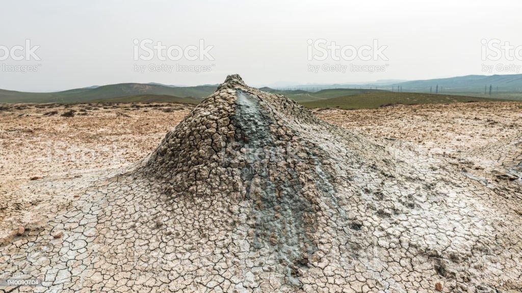A small mud volcano stock photo