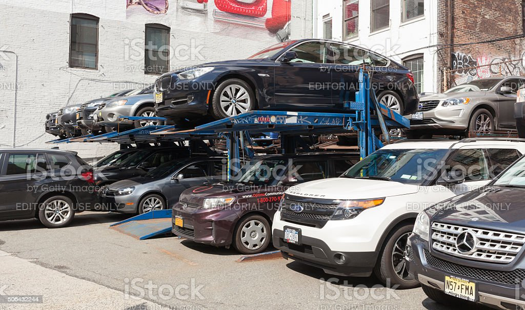 Small multi-level parking in New York City stock photo