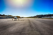 A tarmac of a small municipal airport located in Oceanside, California just north of San Diego.