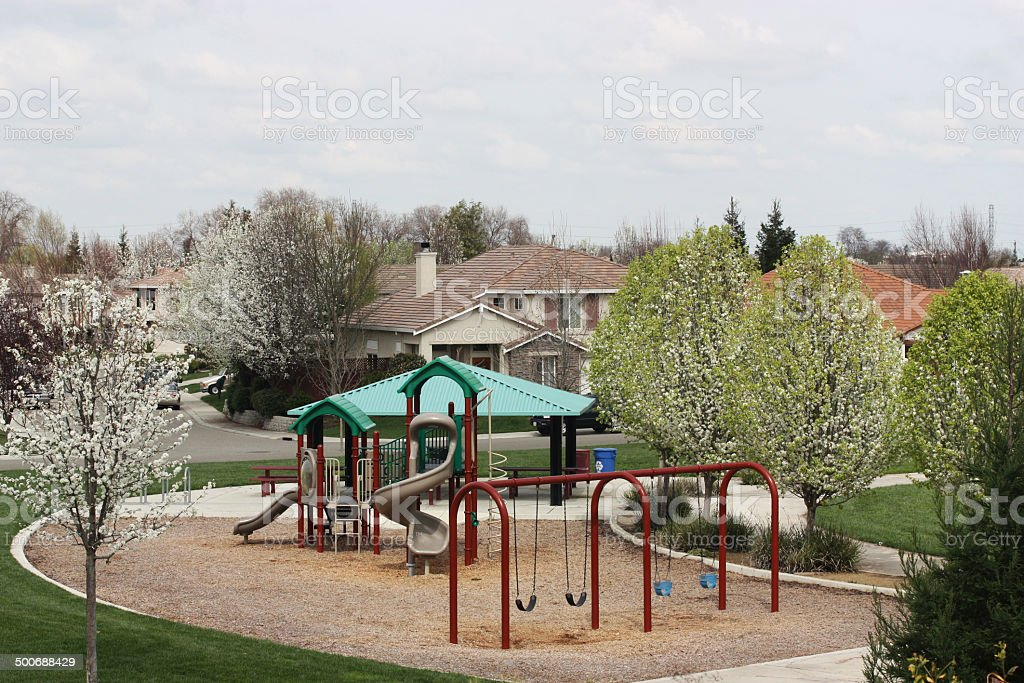 Small Neighborhood Playground in residential community stock photo