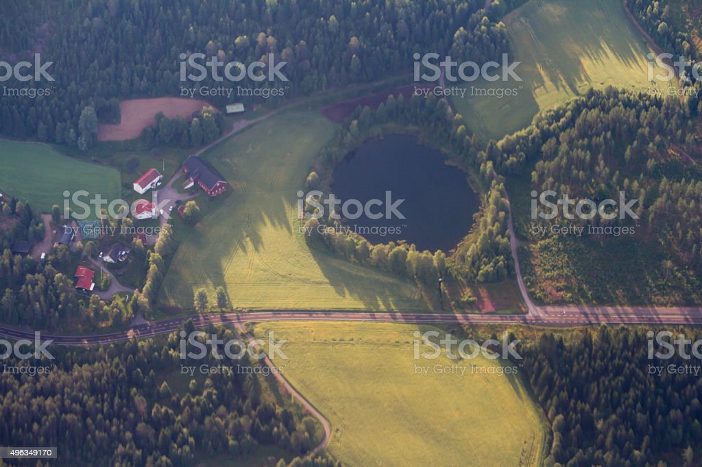 Small Norwegian village surrounded by forest. stock photo