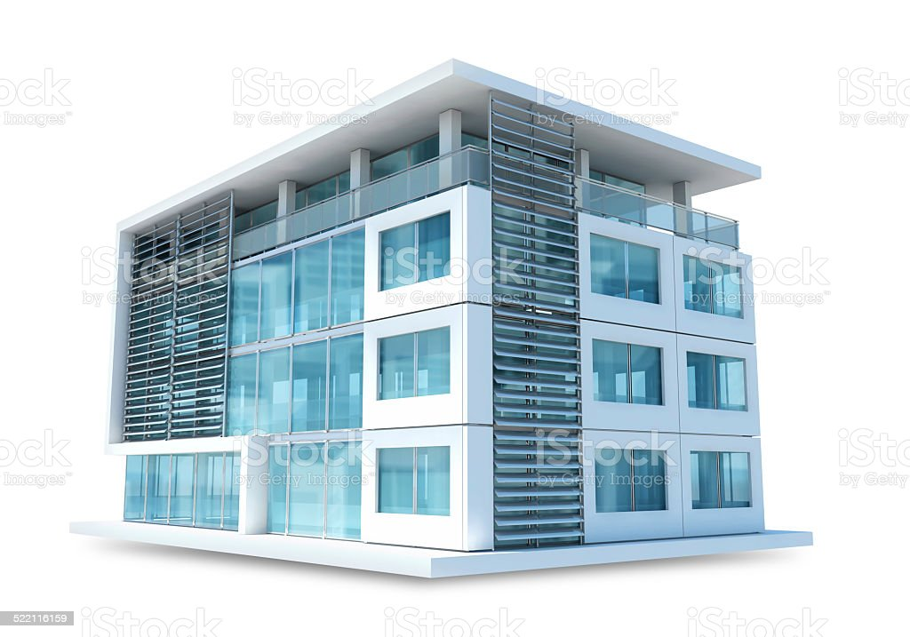 Small office building on white background stock photo