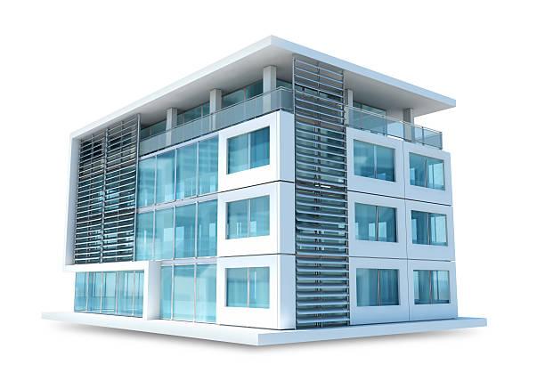 Small office building auf weißem Hintergrund – Foto