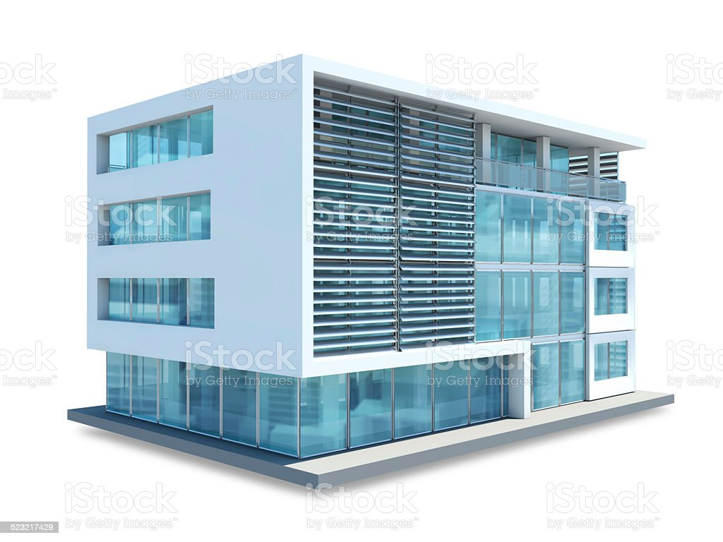 Small Office Building On White Background Royalty Free Stock Photo