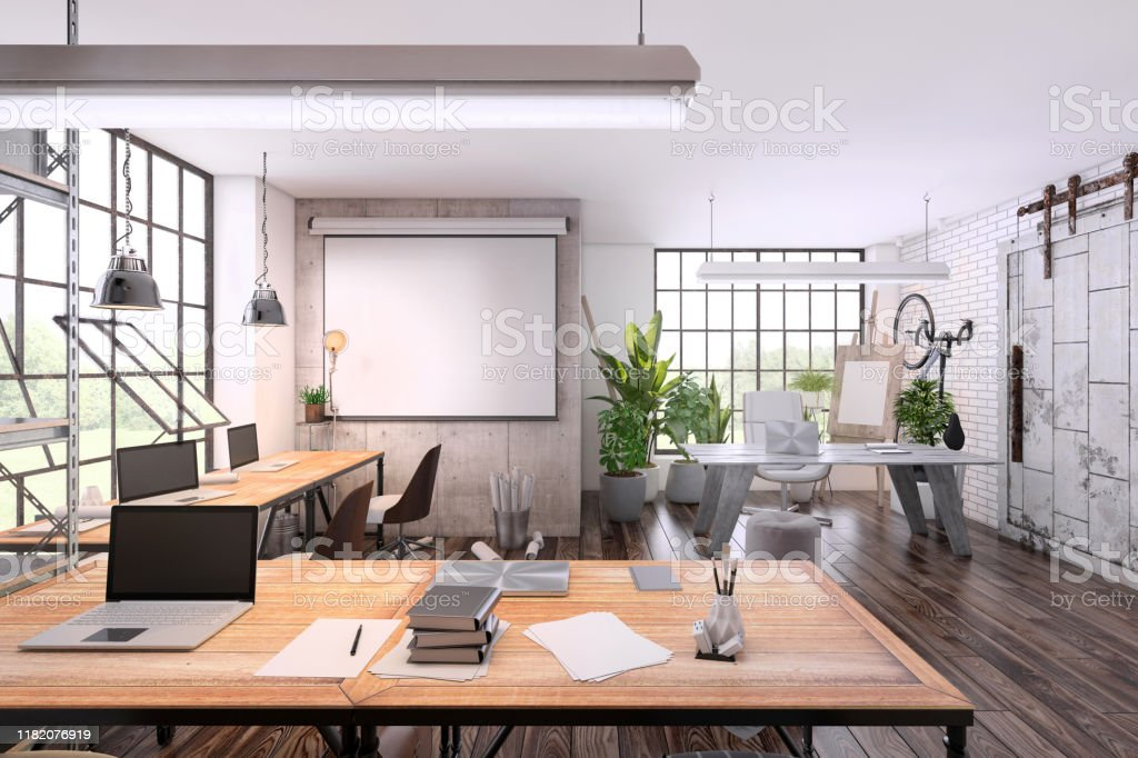 Image of: Small Office Interior With Large Office Desk Stock Photo Download Image Now Istock