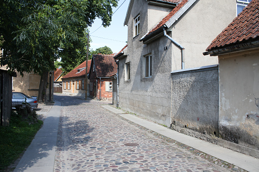 Small old countryside brick street.