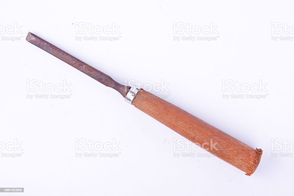 small old used flat chisel wood carving woodworking tools stock photo