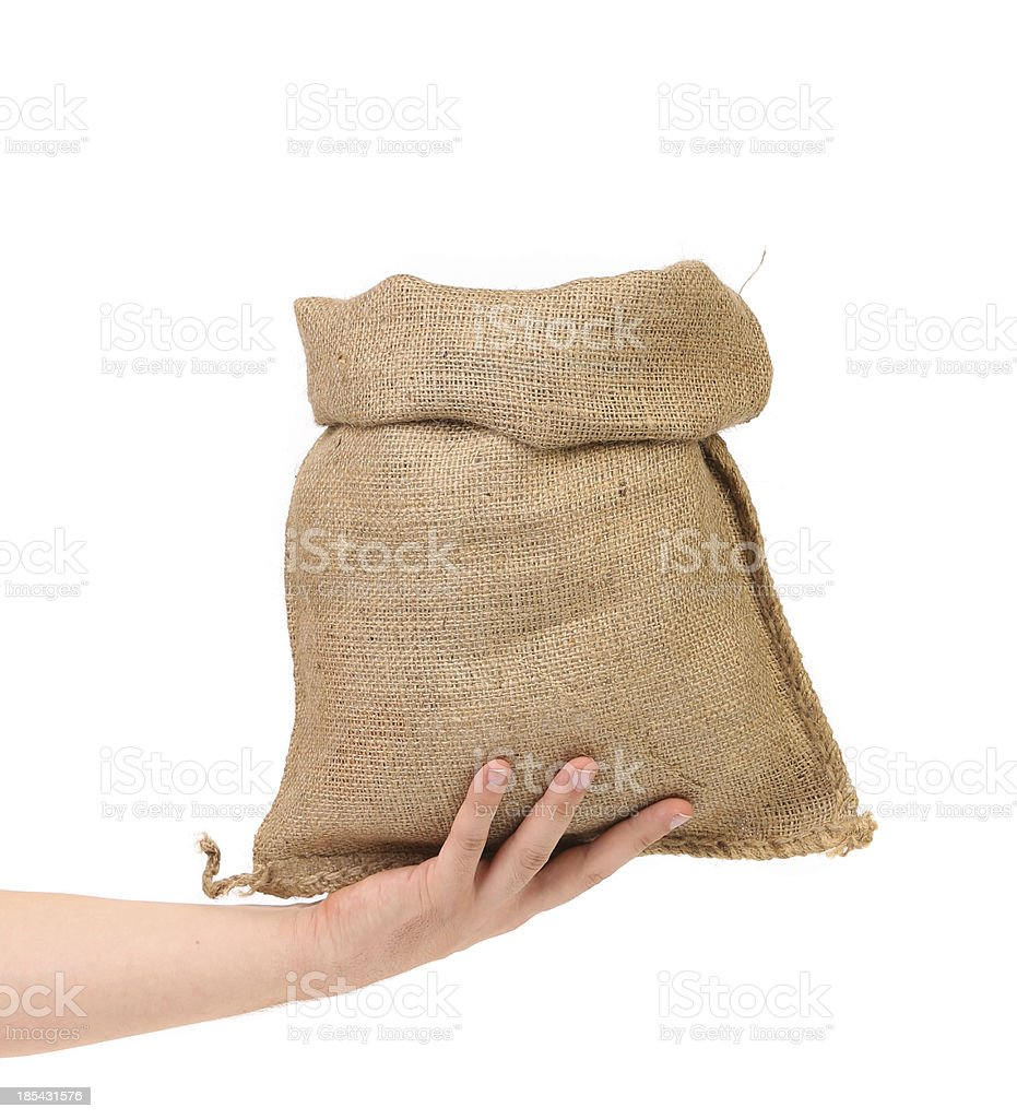 Small open bag from a sacking royalty-free stock photo