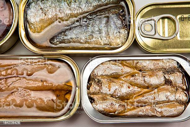 Small Open Tin Cans Of Fish In Oil Stock Photo - Download Image Now