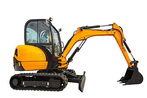 small or mini excavator isolated with clipping path - excavator bildbanksfoton och bilder