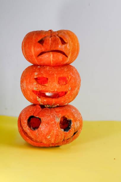 small orange cut out halloween pumpkin lantern jack - pumpkin pie стоковые фото и изображения