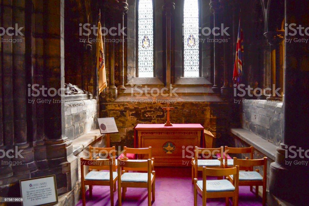 Kleine Kapelle im Inneren der Kathedrale von Glasgow (oder High Kirk of Glasgow oder St Kentigern oder St Mungo Kathedrale) in Glasgow, Schottland - Lizenzfrei Anzünden Stock-Foto
