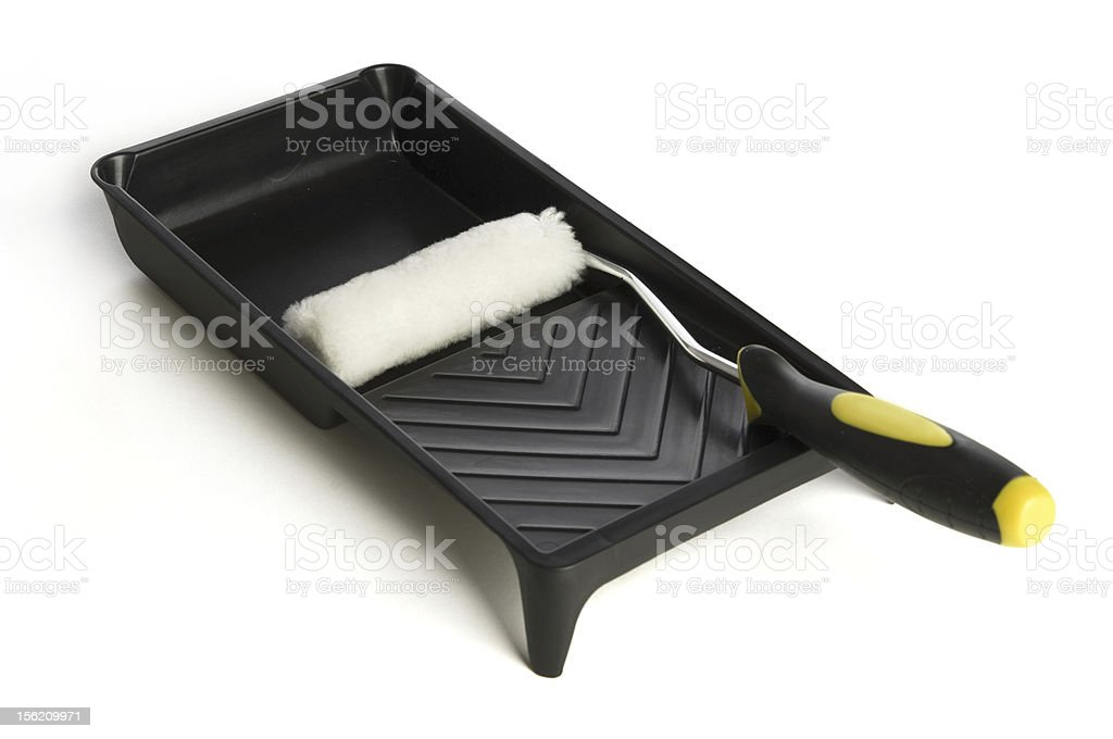 Small Paint Roller Brush and tray on a white background stock photo