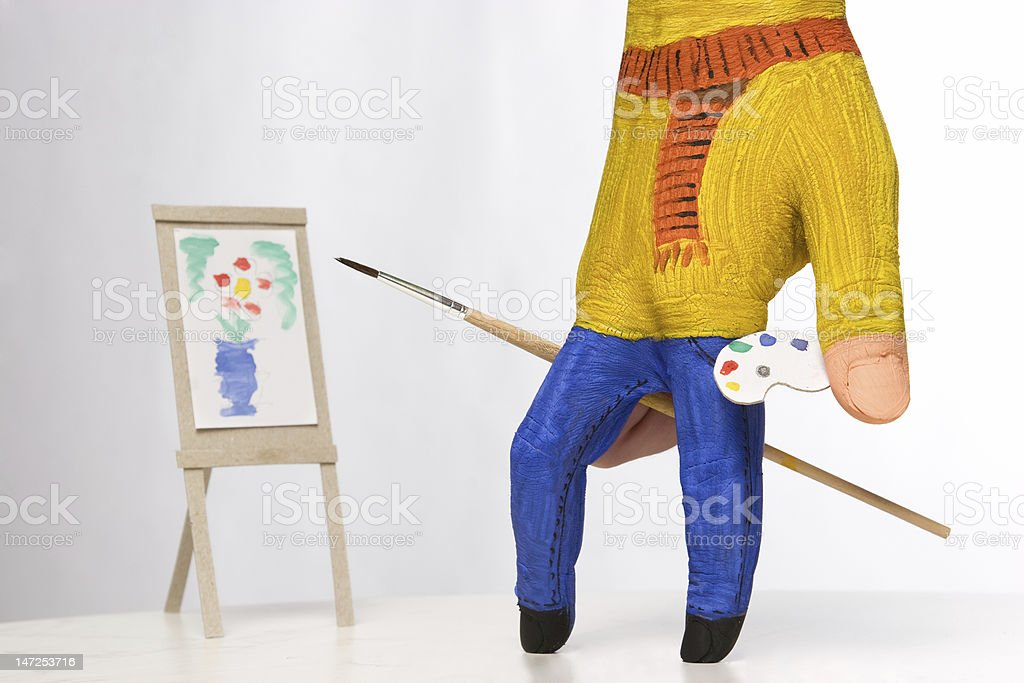 small painter painting stock photo