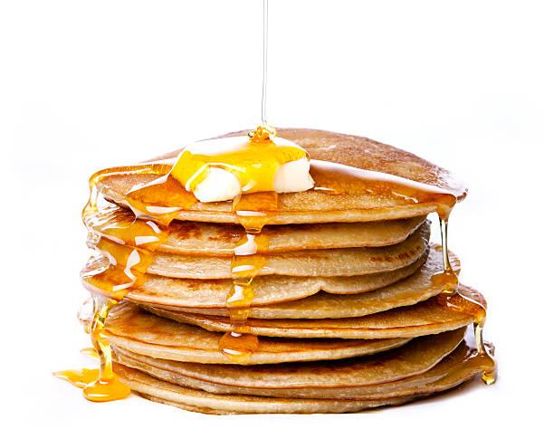 piccole frittelle con burro e miele - pancake foto e immagini stock