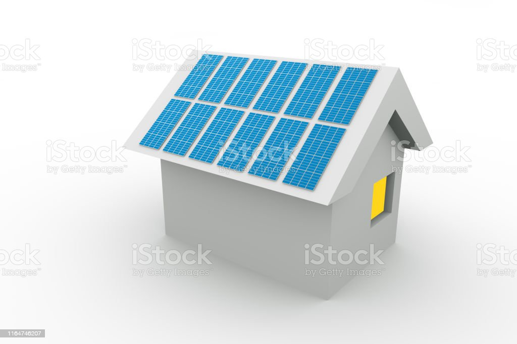 Small Paper House With Solar Panels On The Roof Stock Photo