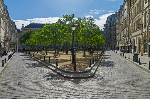 A small park  on the island of Cite. Paris, France.