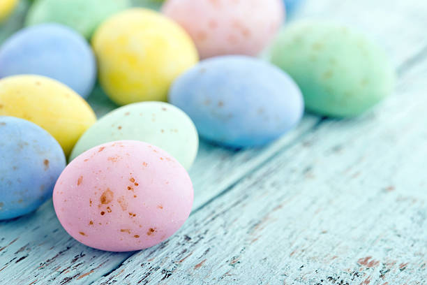 Small pastel easter eggs stock photo