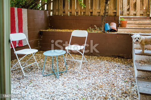 istock Small patio with dog on stairs 1342121738