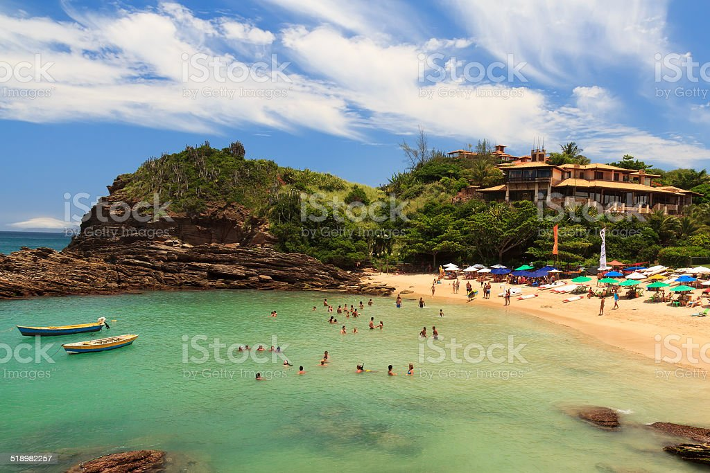 Small peaceful beach sea Ferradurinha in Buzios  Rio de Janeiro, stock photo