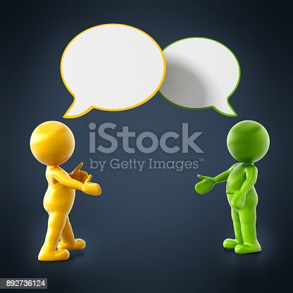 812513444 istock photo 3D small people with speech balloons 892736124