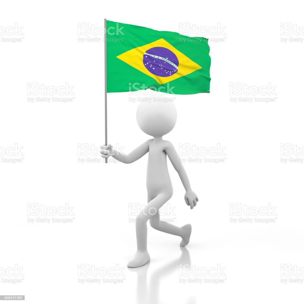 Fotografía de Pequeña Persona Caminando Con La Bandera De Brasil En ...