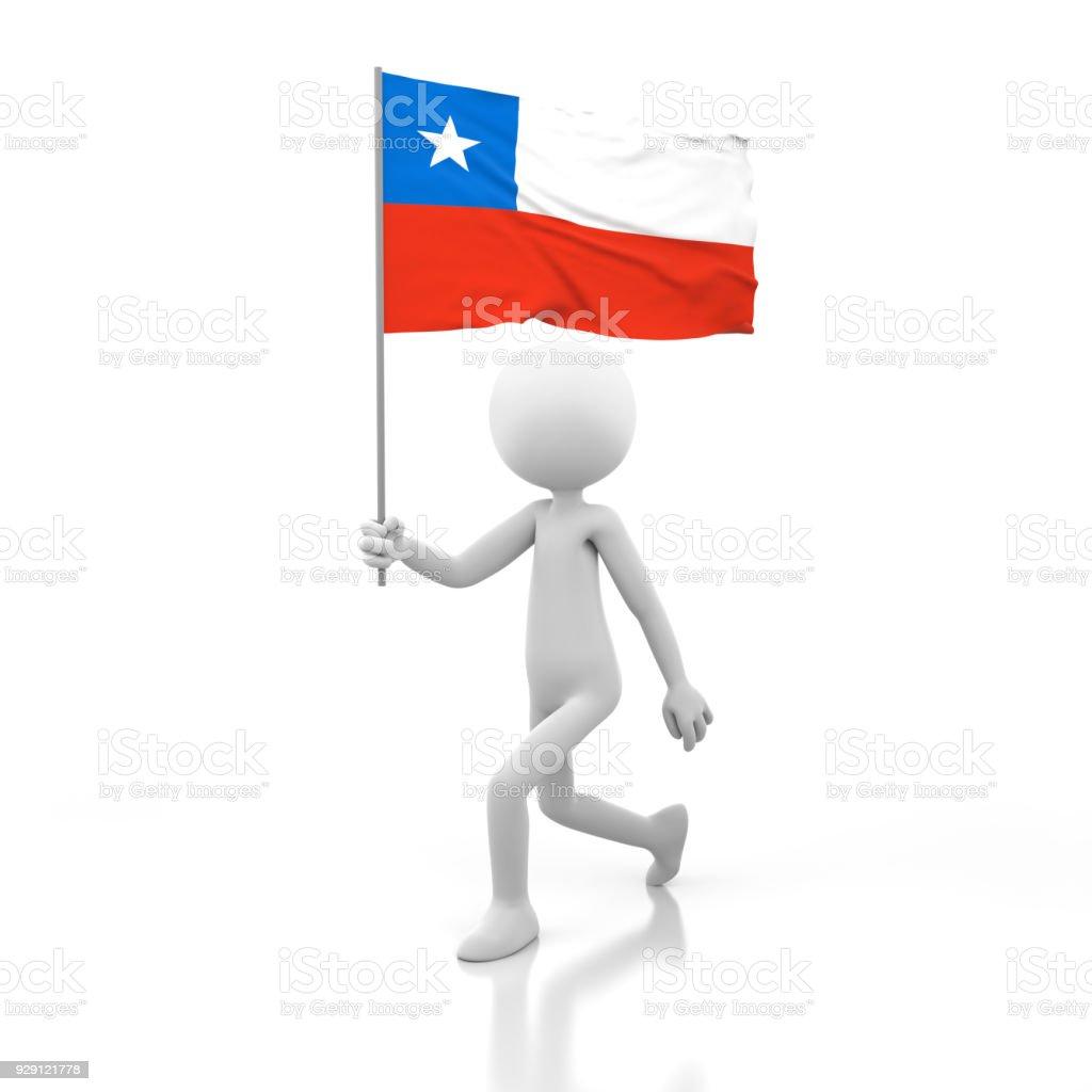 Pequena pessoa caminhando com a bandeira do Chile em uma mão - foto de acervo