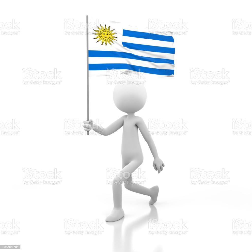Pequeña persona caminando con la bandera de Uruguay en una mano. - foto de stock