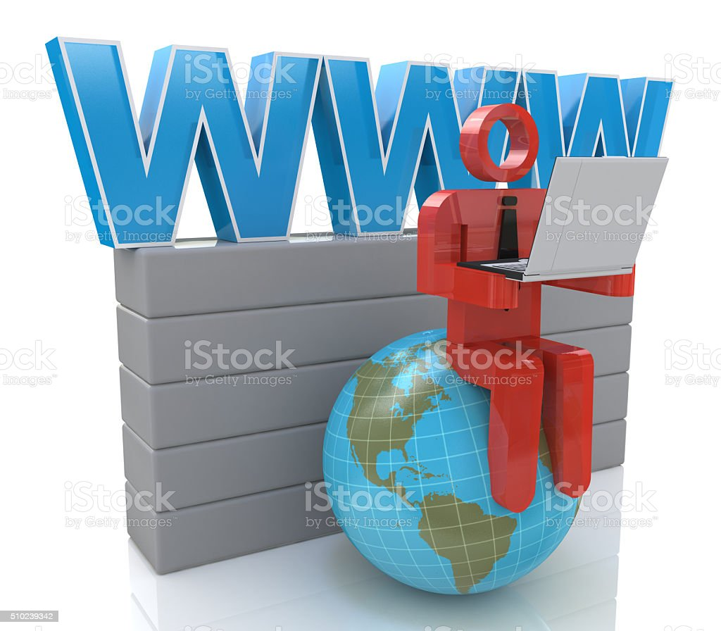 Small person working on a laptop next to the globe stock photo