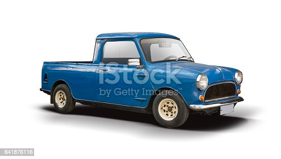 Blue Mini pickup car side view isolated on white