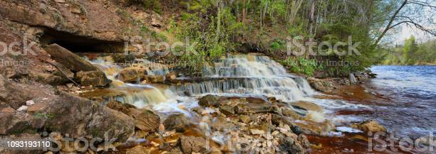 Photo of A small, picturesque waterfall by the river