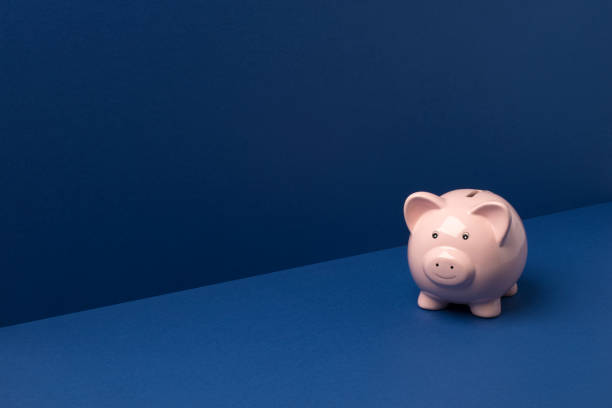 small piggy bank over blue background copy space - piggy bank stock photos and pictures