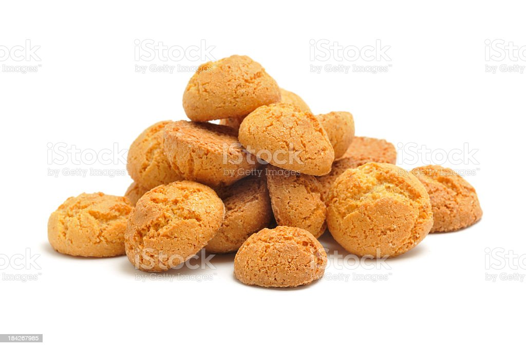 Small pile of Amaretti biscuits stock photo