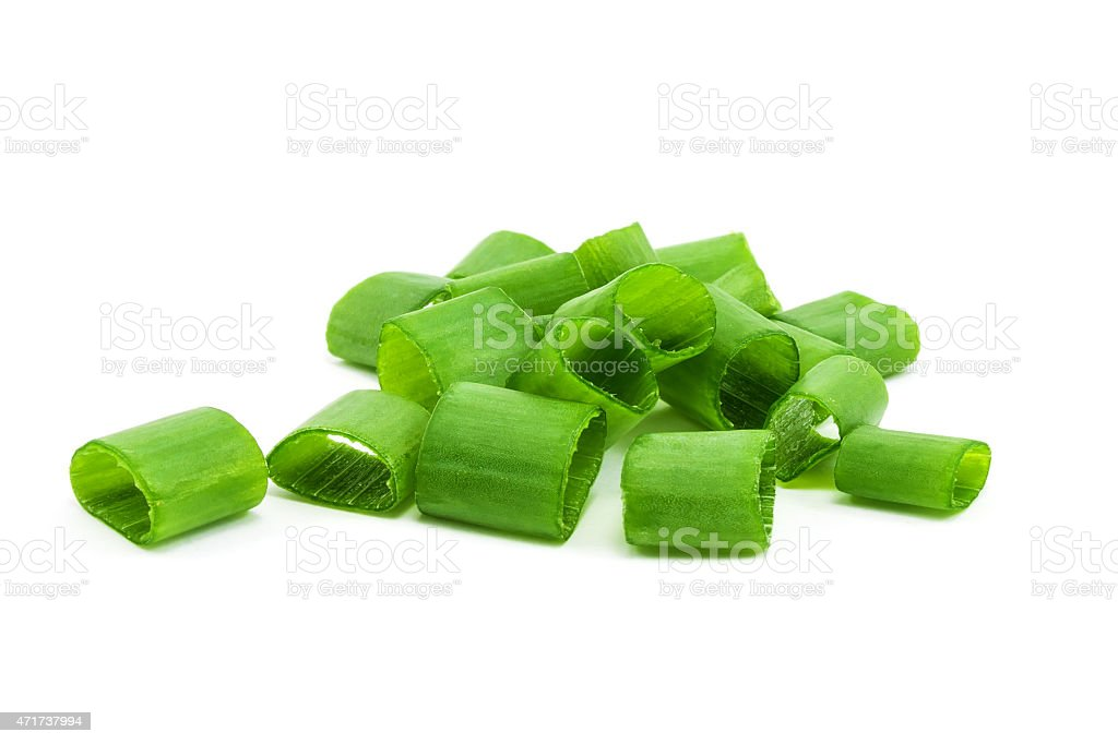 A small pile of chopped green onions stock photo