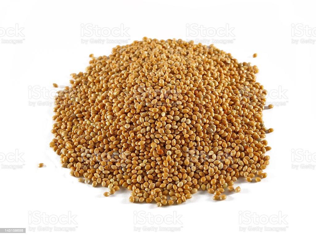 Small pile of millet seeds panicum miliaceum stock photo