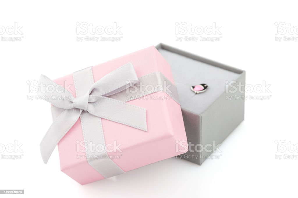 Small Pink And Gray Jewelry Gift Boxes With Bow Isolated On White